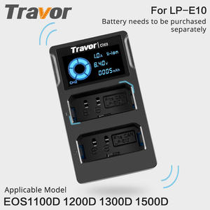 Travor LP-E10 Dual Channel Digital Camera Battery Charger LED display For Canon EOS 1100D 1500D