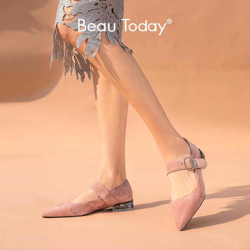 BeauToday Mary Janes Women Kid Suede Leather Pointed Toe Buckle Strap Spring  Summer Sweet Ladies Flat Shoes Handmade A18201