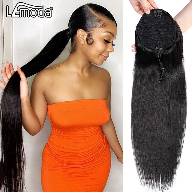 Proste włosy sznurkiem kucyk rozszerzenia Remy 10-28 cali długi klips w kucyk Lemoda brazylijski proste włosy ludzkie tanie i dobre opinie CN (pochodzenie) Remy włosy 100 g sztuka Ciemniejszy kolor tylko Clip-in Pure color Mongolski włosów