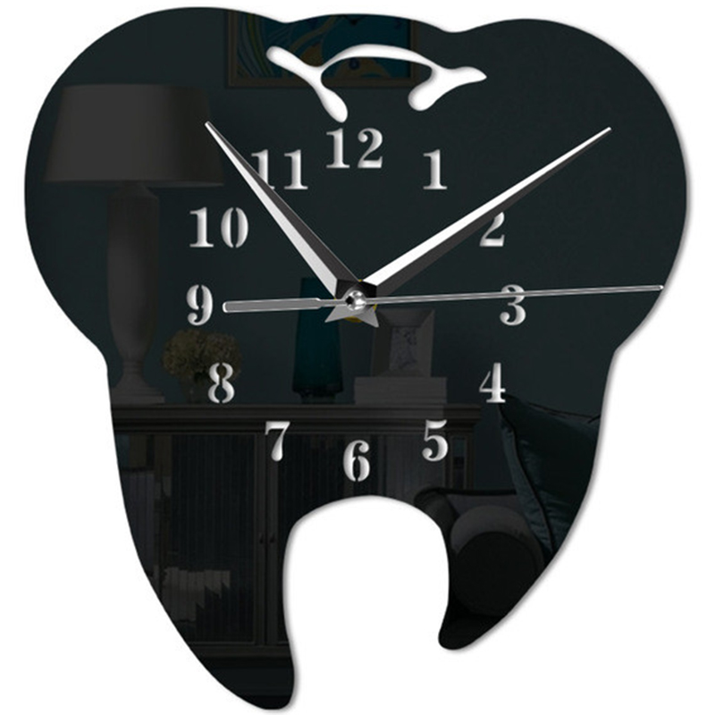 Creative Teeth Acrylic Mirror Wall Clock Home Decoration Wall Clock