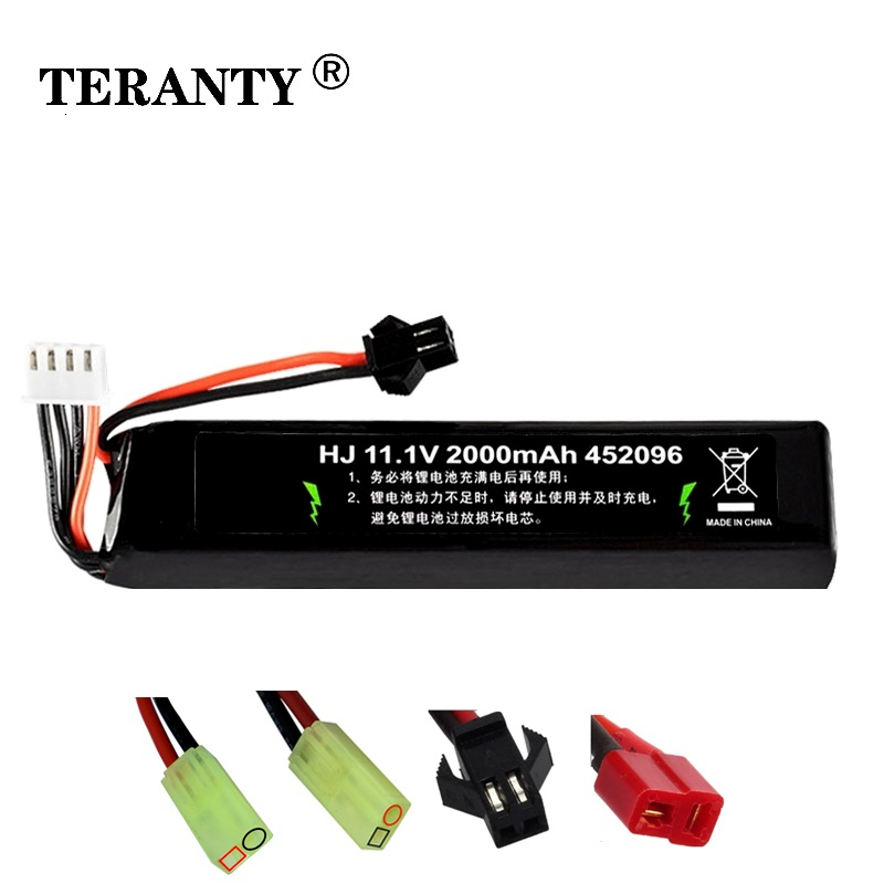 11.1v Lipo Battery For Water Gun 3S 11.1V 2000mAh 30C 452096 Battery For Mini Airsoft BB Air Pistol Electric Toys Guns Parts