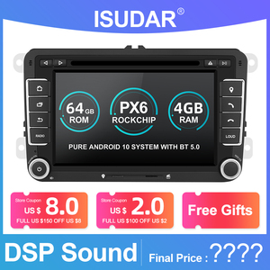 Image 1 - Isudar 2 Din Android 10 Radio For VW/Golf/Tiguan/Skoda/Fabia/Rapid/Seat/Leon Canbus Car Multimedia Player Automotivo GPS DVD DSP