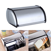 Stainless Steel Roll Top Bread Box Storage Bin Keeper Food Storage Container Kit