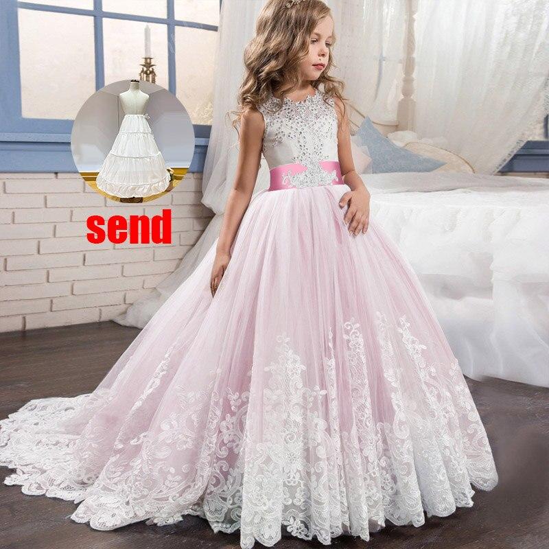 Платье с цветочным узором для девочек на свадьбу; вечерние платья; vestidos de primera comunion; платье для первого причастия; Пышное Бальное платье для детей; цвет белый - Цвет: pink