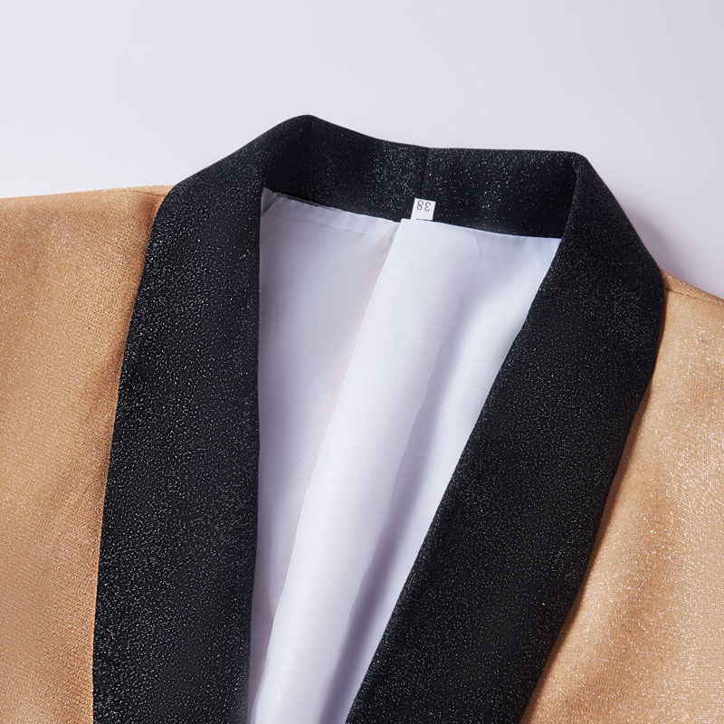 Image 3 - PYJTRL Mens Fashion Gradient Color Shiny Gold Blue Champagne Pink Black Slim Fit Blazer Stage Singer Prom Dress Suit Jacket-in Blazers from Men's Clothing