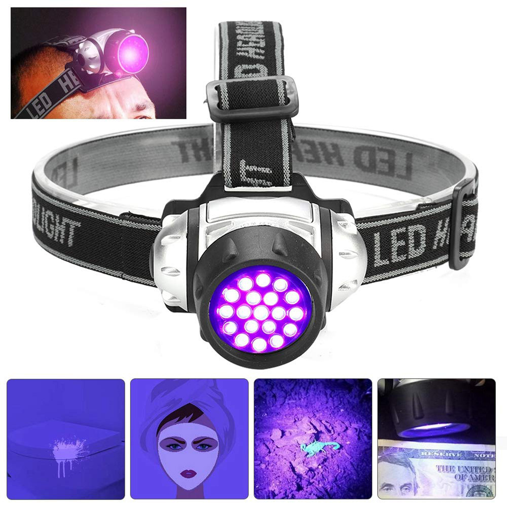 395nm UV LED Headlamp Ultraviolet Purple Headlights Flashlight Camping Hunting Head Torch Light Lamp for Searching Fishing