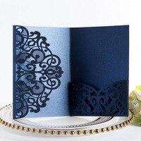 100pcs/set European Business Invitation Card Hollow Lace Wedding Birthday Invitation Card Festival Party Greeting Postcard