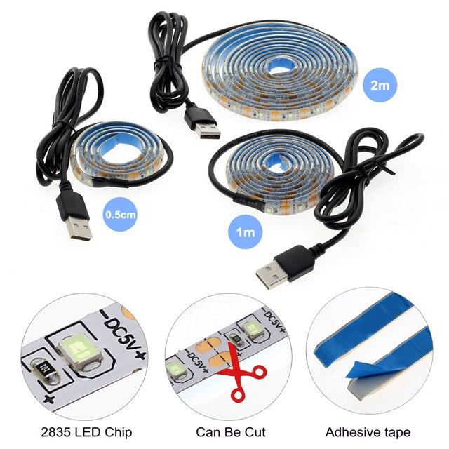 Vacances Lightin bande LED usb lumière 50CM 1M 2M 3M 4M 5M RGB blanc chaud bande LED blanche arbre de noël Decoracion guirlandes lumineuses.
