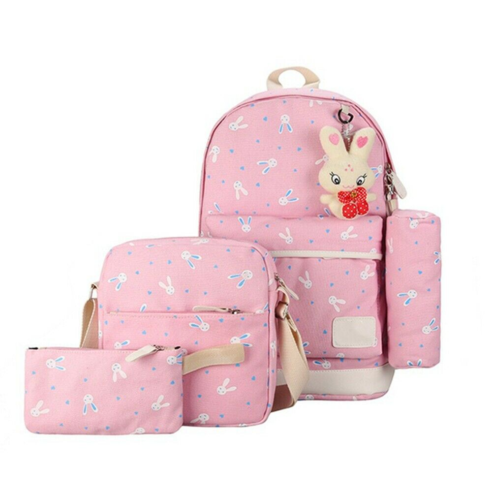 4Pcs/set Student School Bag Children Girl Backpack Cute Cartoon Rabbit Print School Bag Fashion Shoulder Bag