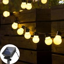 Лампа на солнечной батарее Мощность светодиодный светящиеся гирлянды 2,5 м 5 м 10/20 светодиодный s шар лампы гирлянды на солнечной энергии Сад ...