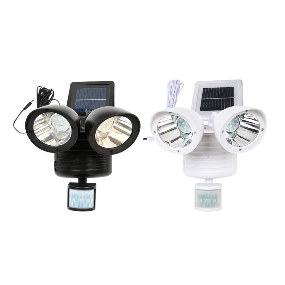 22 LED Solar Light Body Sensor Outdoor Wall Lamp Double-headed Spotlights Highlight For Garden Yard