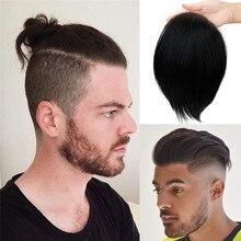 Парик мужской сменный t-System для мужчин швейцарская Кружевная Сетка с наполовину ПУ вокруг волос 100% европейские Человеческие волосы Remy 17*11 см