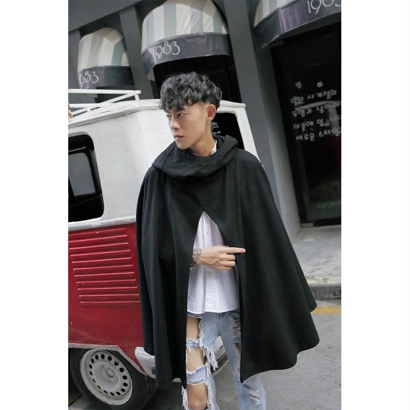 Winter Hooded woollen coat medium-length loose-fitting plaid coat men's cloak cloak cloak men's coat