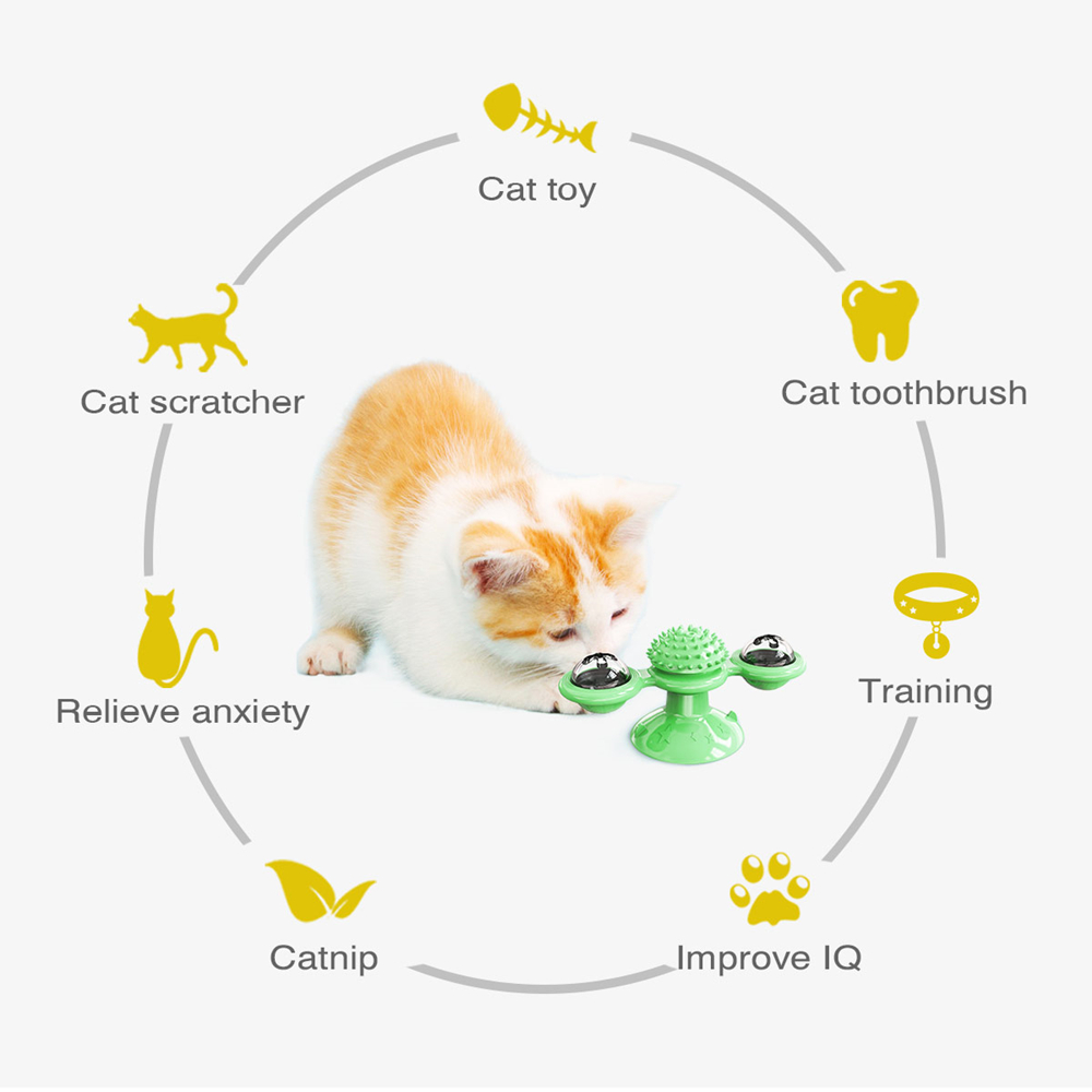 Interactive Cat Toy Windmill Portable Scratch Hair Brush Grooming Shedding Massage Suction Cup Catnip Cats Puzzle Training Toy 4