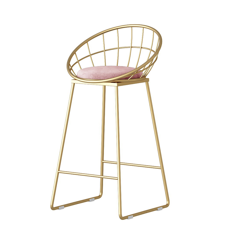 Iron Art Nordic Backrest Bar Chair Golden Clothing Store Photo Tall Home Modern Minimalist Net Red High Stool