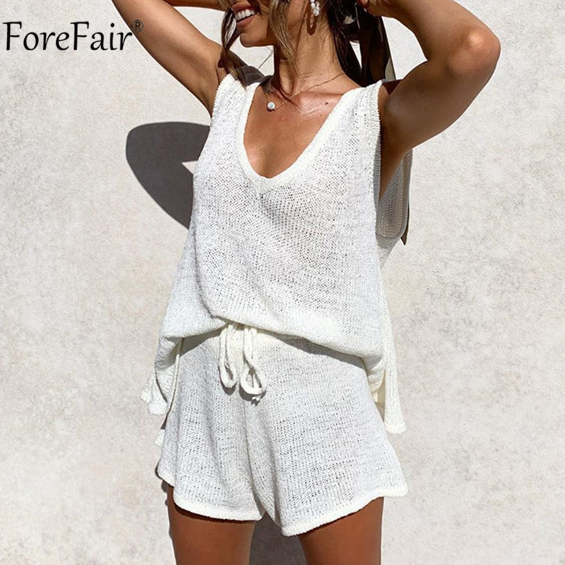 Forefair V Neck Knit Women Set Sleeveless Sexy Top White And Short Suit Pants Loose Casual Summer Two Piece Set Outfit