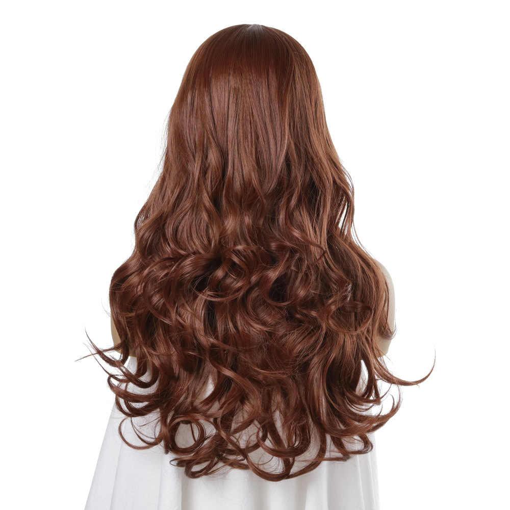 Kahverengi kül yüksek yoğunluklu sıcaklık sentetik peruk kadınlar için dalgalı Cosplay saç