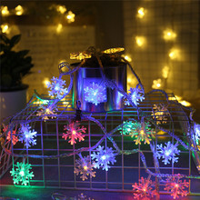 5M 50LEDs String Light Battery Powered Snowflake Shape Fairy Holiday Lights Decoration For Home Bedroom Wedding Christmas