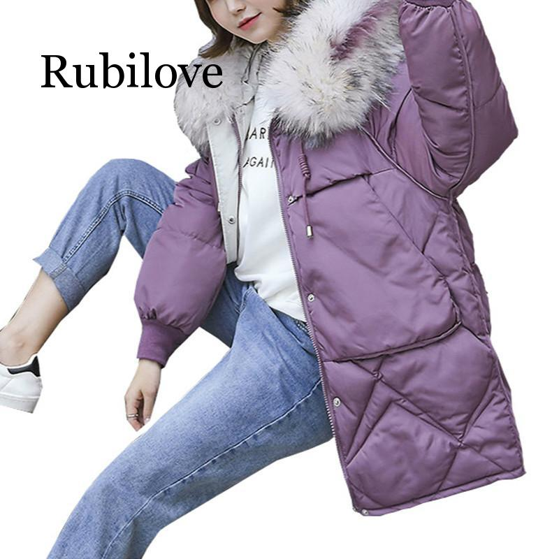 Rubilove Winter Jacket Women Down parka women with big fur hooded down jacket for 2019 coat