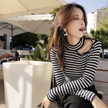 цена на 2019 New Korean Vintage Women Sweater Striped Female Sweaters Sexy Off Shoulder Slim Knitwear Tops