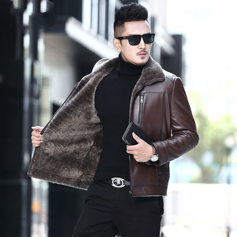 100% Genuine Leather Jacket Men Natural Wool Fur Coat Winter Sheepskin Coat Real Fur Thick Mens Leather Jackets KJ851