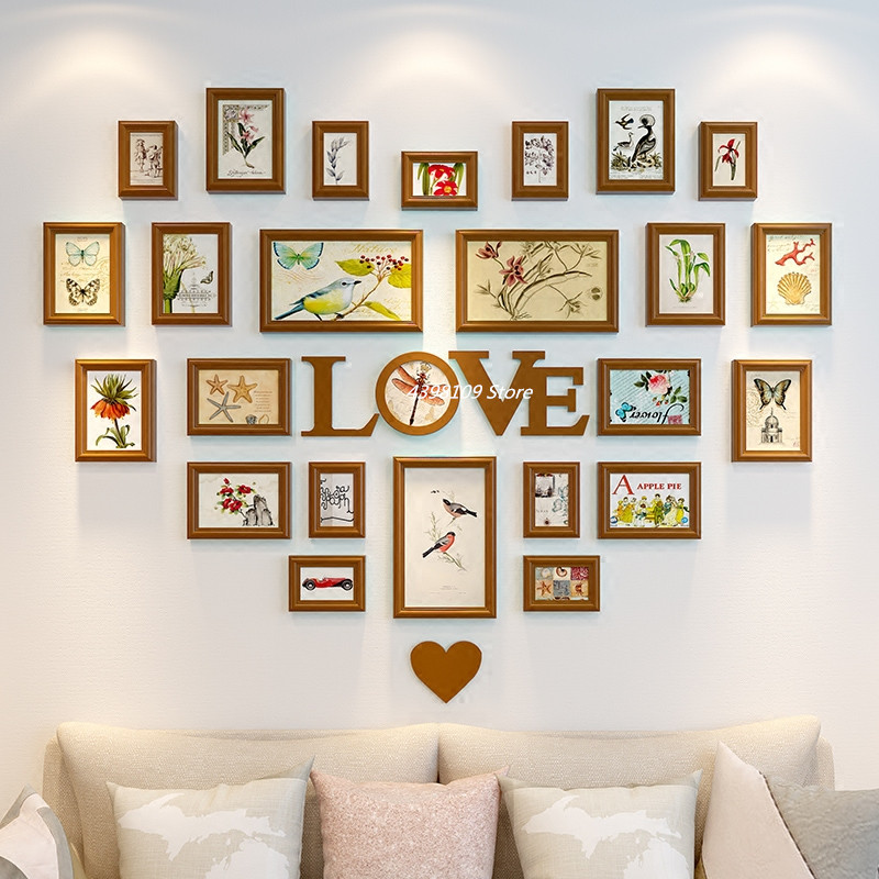 Home Design Wooden Photo Frame Mural Living Room Wall Decoration Photo Wall Wedding Room Decoration Heart Shaped Love Style Frame Aliexpress