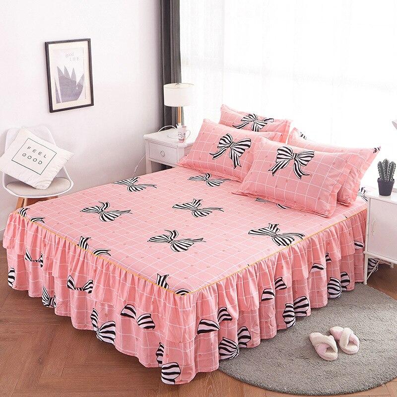 رومانسية مزدوجة طبقة تنورة نوم البوليستر أنيقة المفرش غطاء سرير للمنزل ديكور غطاء 3 قطعة ورقة المجهزة مع شريط مرن