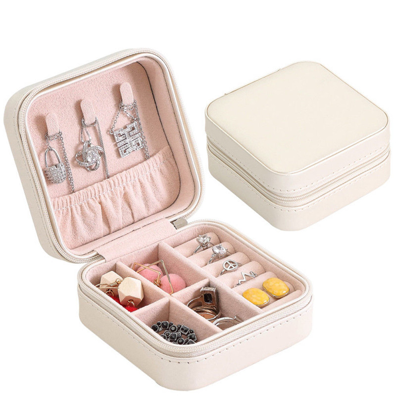 2020 Hot Sale PU Fibre Jewelry Box Portable Storage Organizer Earring Holder Zipper Women Jewelry Display Travel Case
