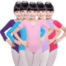 Детское платье-пачка для маленьких девочек; хлопковая одежда для латинских танцев; облегающая одежда с длинными рукавами и v-образным вырезом для гимнастики; цельнокроеное балетное платье