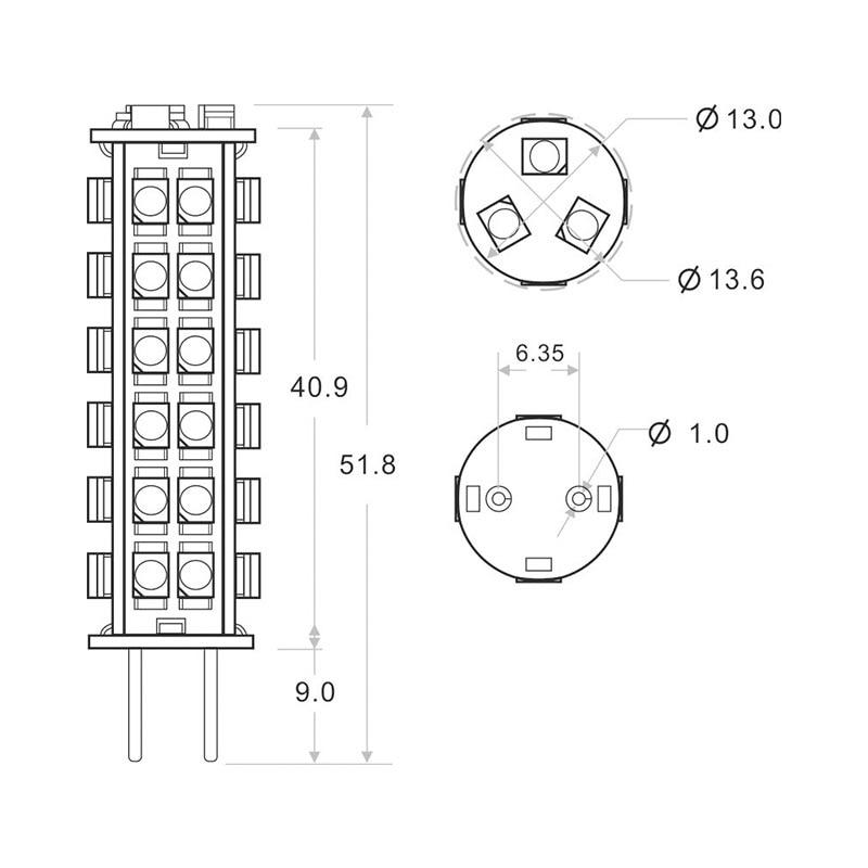 Купить с кэшбэком Led G6.35 Bulb Lighting 51LEDS SMD 3528 Lamp Wide voltage AC/DC10-30V 3W White Warm White 15pcs/lot