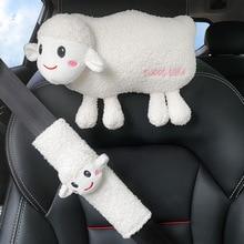 3D Schafe Kopfstütze Schulter Schutz Taille Kissen Lockige Samt Auto Kissen Nackenschutz Kissen Taille Kissen Hohe Qualität Plüsch Cartoon