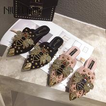 Pointed Rhinestone Rivet Women's Shallow Slippers Casual Slip On Low Heel Mules Loafer Flat Slides Sandals Crystal Beach Shoes slides rivet flowers cool slippers fish mouth beach shoes flat sandals