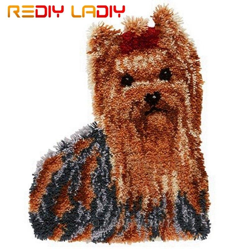 Trava gancho kits fazer o seu próprio tapete animais cão tapeçaria crochê almofada tapete diy pré-impresso lona artesanato decoração de casa