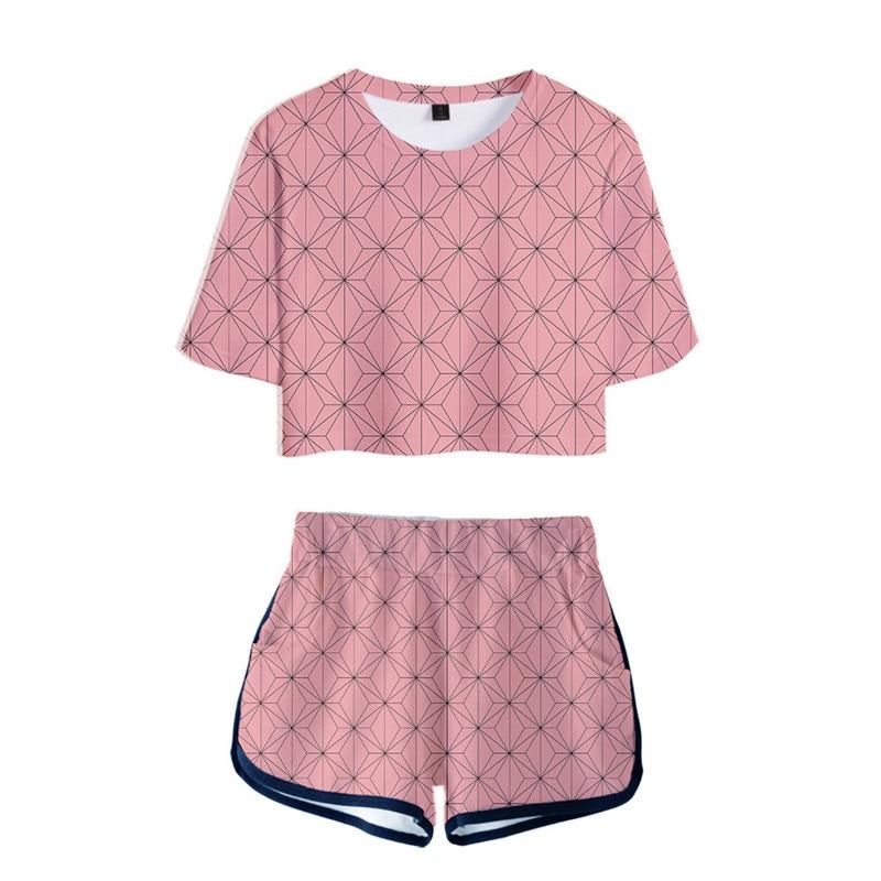 Demon Slayer Kimetsu No Yaiba Costume Women Top Shorts Sport Suits Kamado Nezuko Running Shorts Shirt Girls Set Cosplay