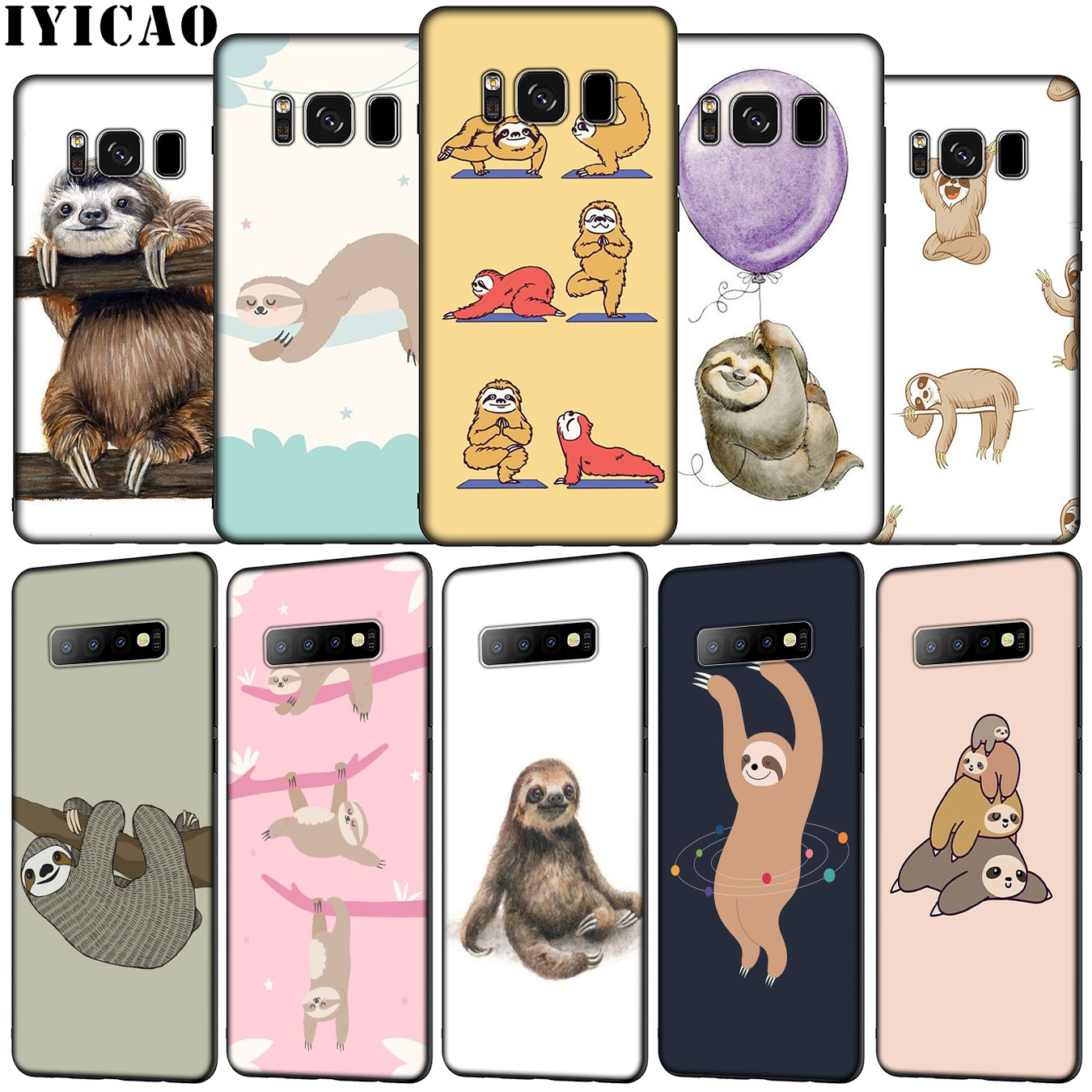IYICAO yoga sloth rose Soft Silicone <font><b>Phone</b></font> <font><b>Case</b></font> for <font><b>Samsung</b></font> Galaxy S20 Ultra S10e S9 S8 Plus S6 <font><b>S7</b></font> Edge S10 Lite Cover image