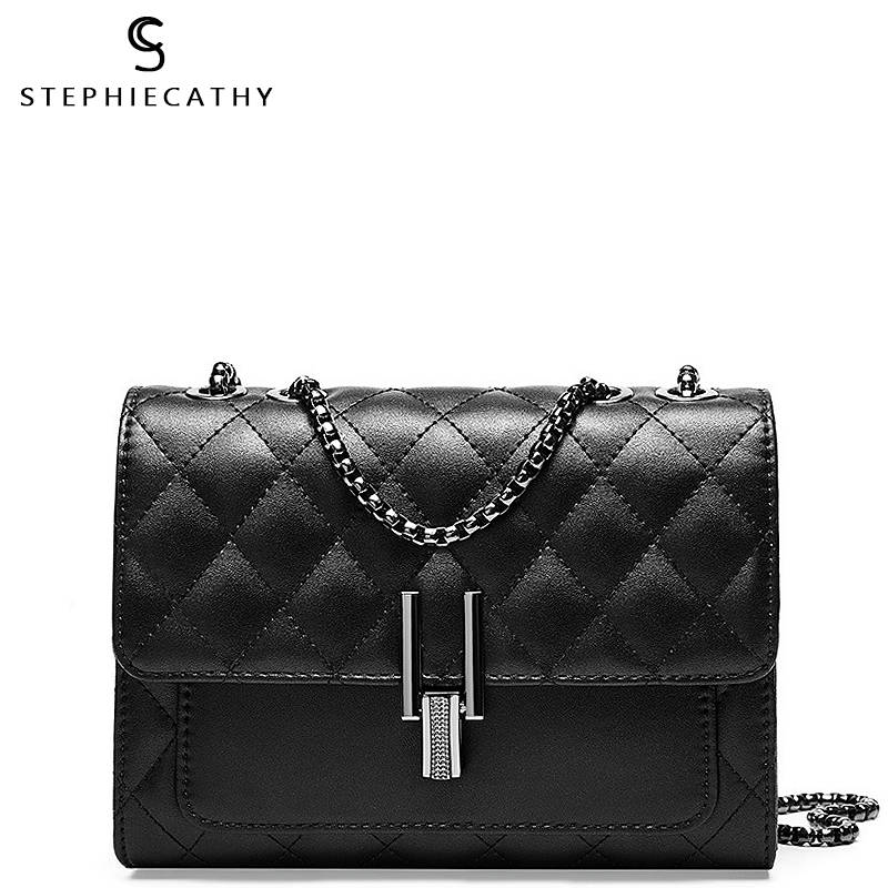SC Luxury Brand Design Leather Ladies Flap Messenger Bag Women Chain Small Shoulder Bag Plaid Metal Lock Femal Crossbody Handbag