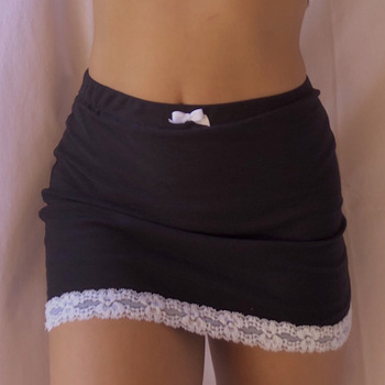 elastic waist scallop hem textured skirt Lace Hem Skirt Womens Skirt Slim Lace-up Mini Dress High Waist Short Skirt Black Low Waist E Girl Aesthetic Mini Tennis Skirt