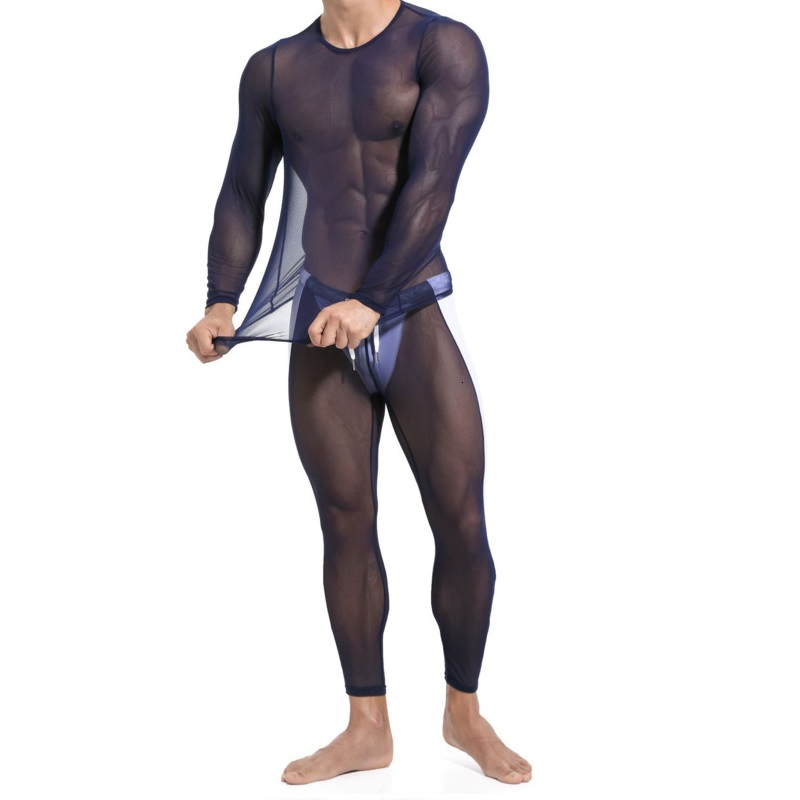 Sexy Transprent Mesh Long John Set Men Underwear Lingerie Undershirt Singlet Suit See Through Long Sleeve T Shirt Leggins Pants