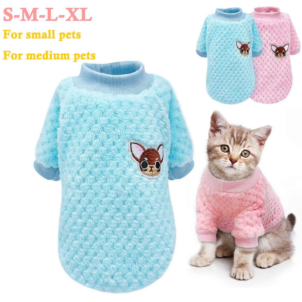 Pakaian Anjing Musim Dingin Hangat Jaket Plush Sweater Lucu Hewan Peliharaan Kostum Piyama Lembut Hewan Peliharaan Sweatshirt untuk Kucing Anjing Kecil Merah Muda D40