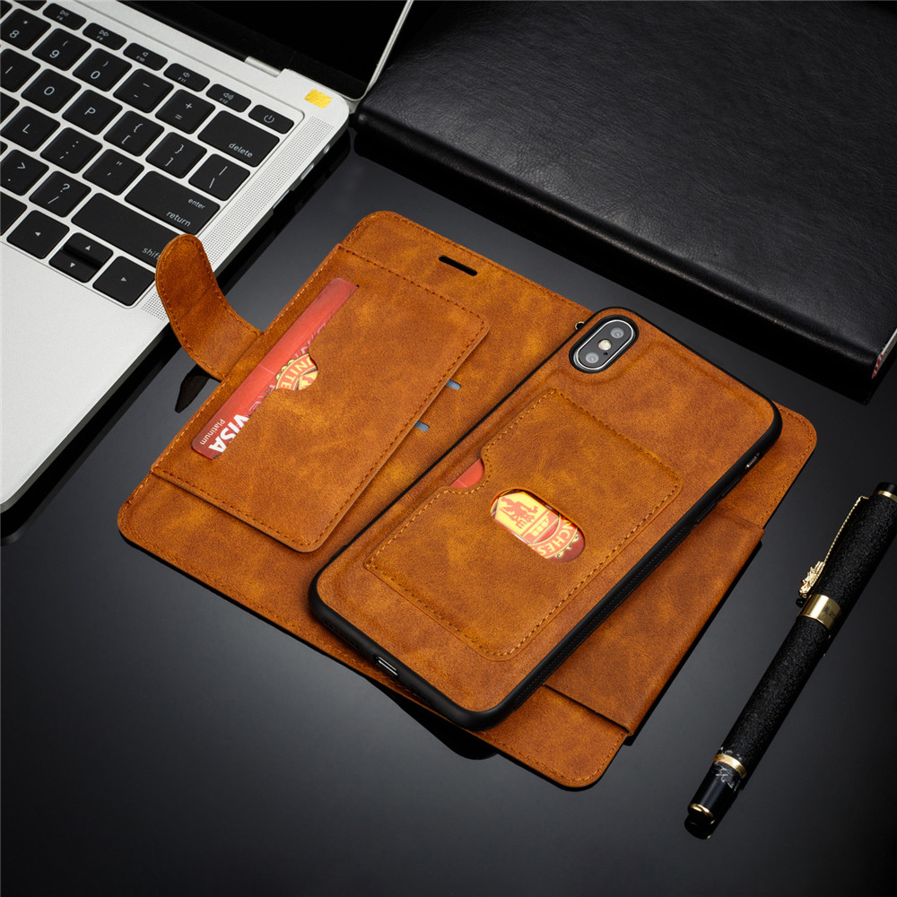 Retro PU Leather Case For iPhone 7 6 6S 8 Plus Case iPhone X XS Max XR Case Cover Detachable 2 in 1 Multi Card Wallet Phone case in Wallet Cases from Cellphones Telecommunications