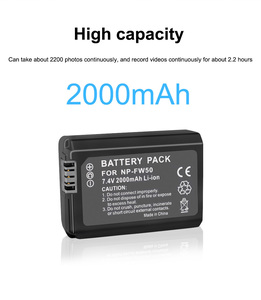 Image 3 - PALO 2 adet 2000mAh NP FW50 NP FW50 kamera pil + LCD USB çifte şarj makinesi Sony Alpha a6500 a6300 a6000 a5000 a3000 NEX 3 a7R