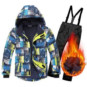 Лыжный костюм для детей, зимние теплые ветрозащитные водонепроницаемые уличные детские спортивные зимние пальто и штаны, комплект для маль...