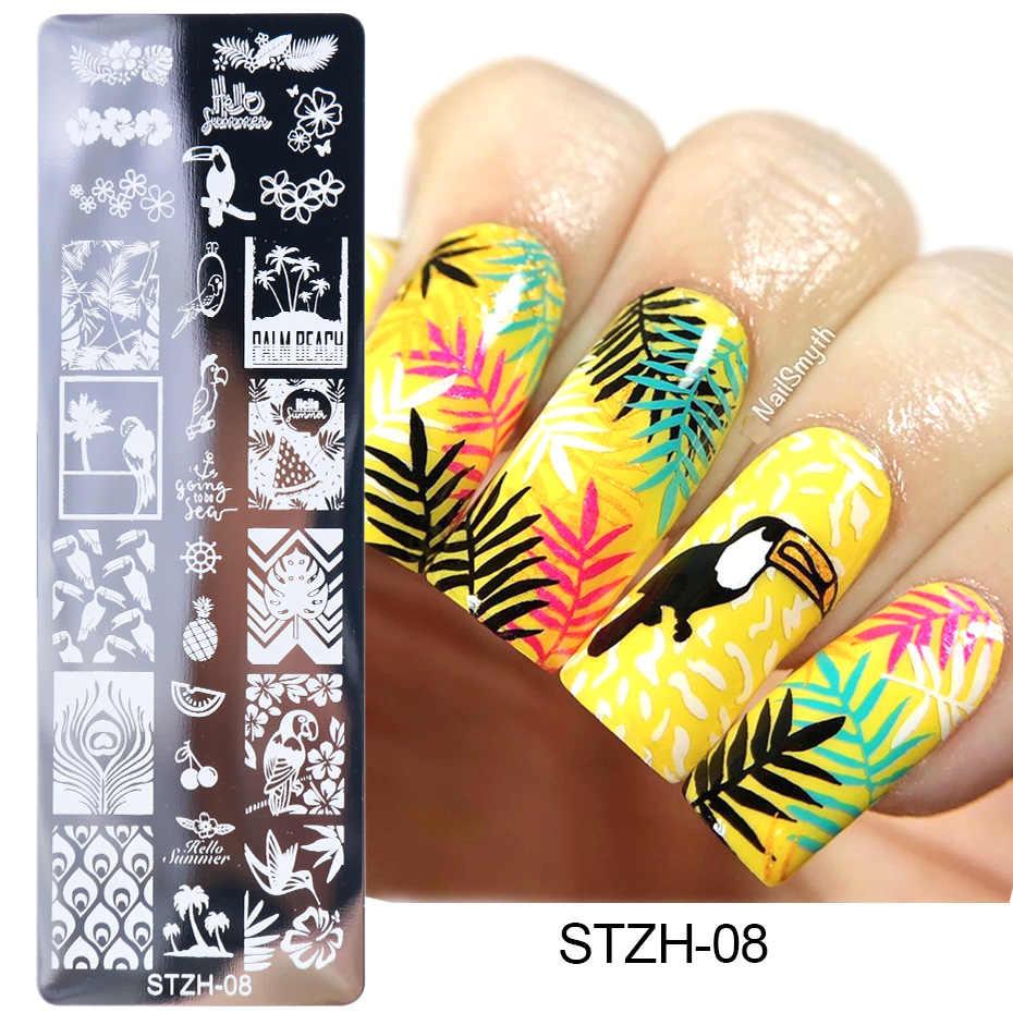 1pcs Unghie artistiche Francobolli nail Stamping Piatti Tem Piatti Lettere Farfalla Lascia Gatti Stelle Gel Polish Manicure Stencil TRSTZH01-12