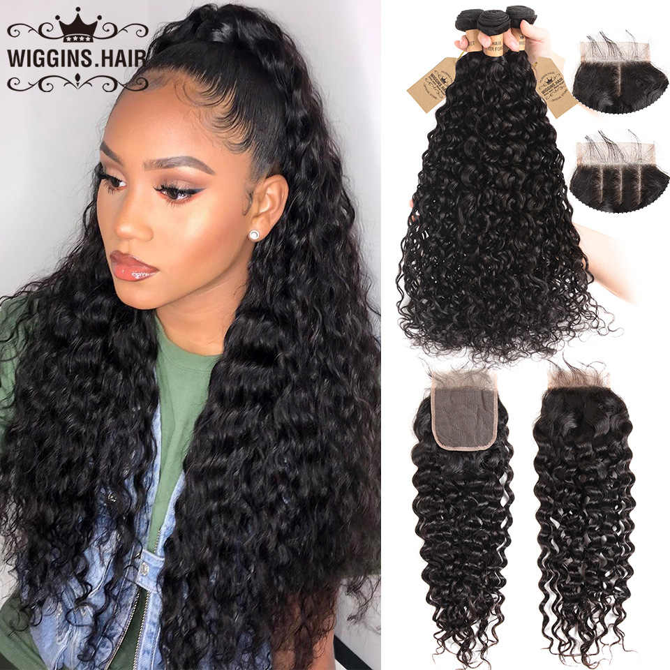 Brazilian Water Wave 3 Bundles With Closure Wiggins Hair Remy Human Hair Bundles With Closure 4x4 Swiss Lace Natural Color