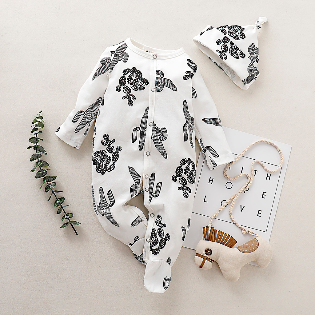 Infant Baby Boy Rompers Pajamas Cotton Long Sleeve Bodysuits Sleepsuit Sleepwear for Newborn