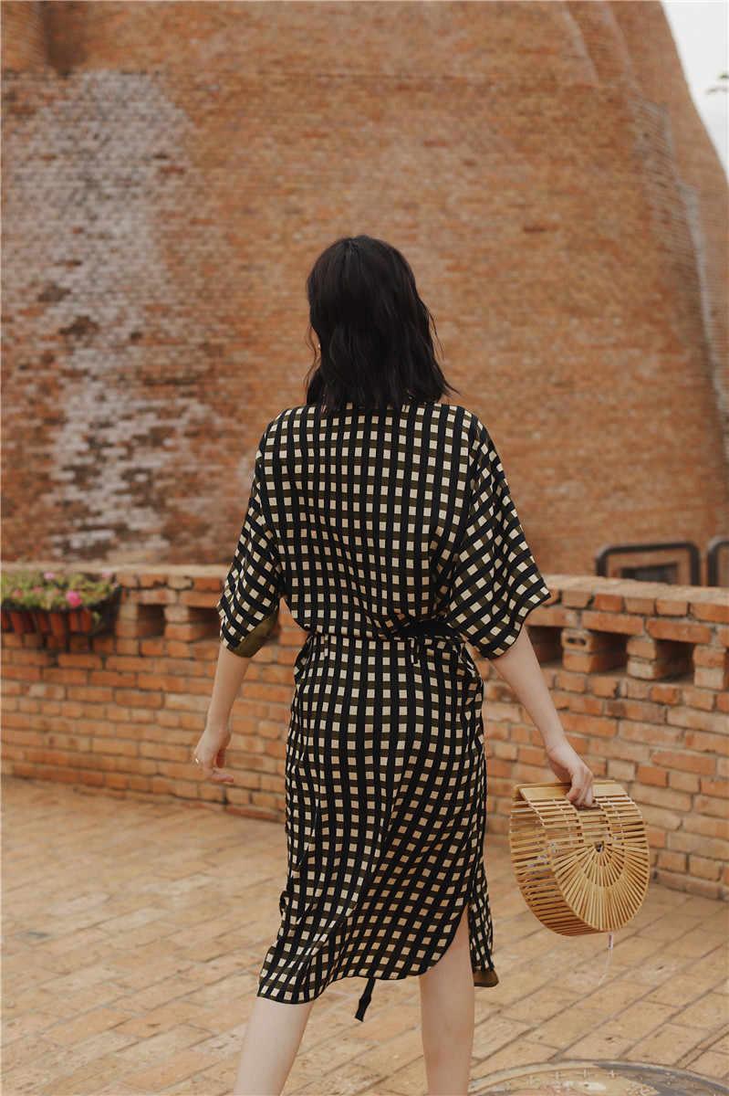 SuperAen модное летнее женское платье Новинка 2019 v-образный вырез шифоновое клетчатое платье женская Европейская Повседневная дикая женская одежда