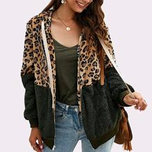 Women Autumn Winter Jackets Leopard Print Color Block Patchwork Jacket
