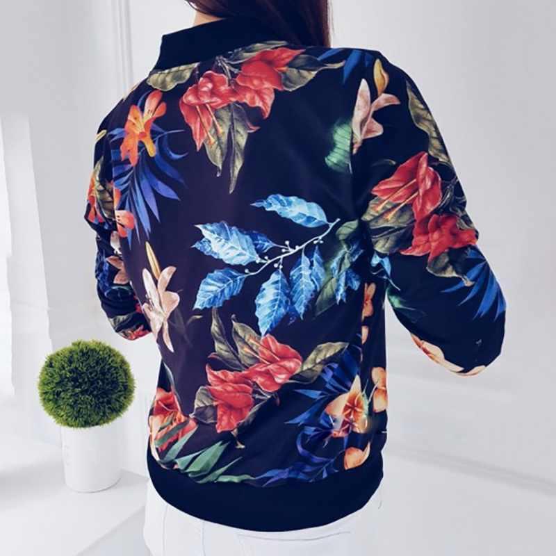 CYSINCOS 2019 yeni moda çiçek baskılı kadın kısa ceket Casual Tops fermuar bombacı Streetwear sonbahar bayanlar gevşek o-boyun ceket