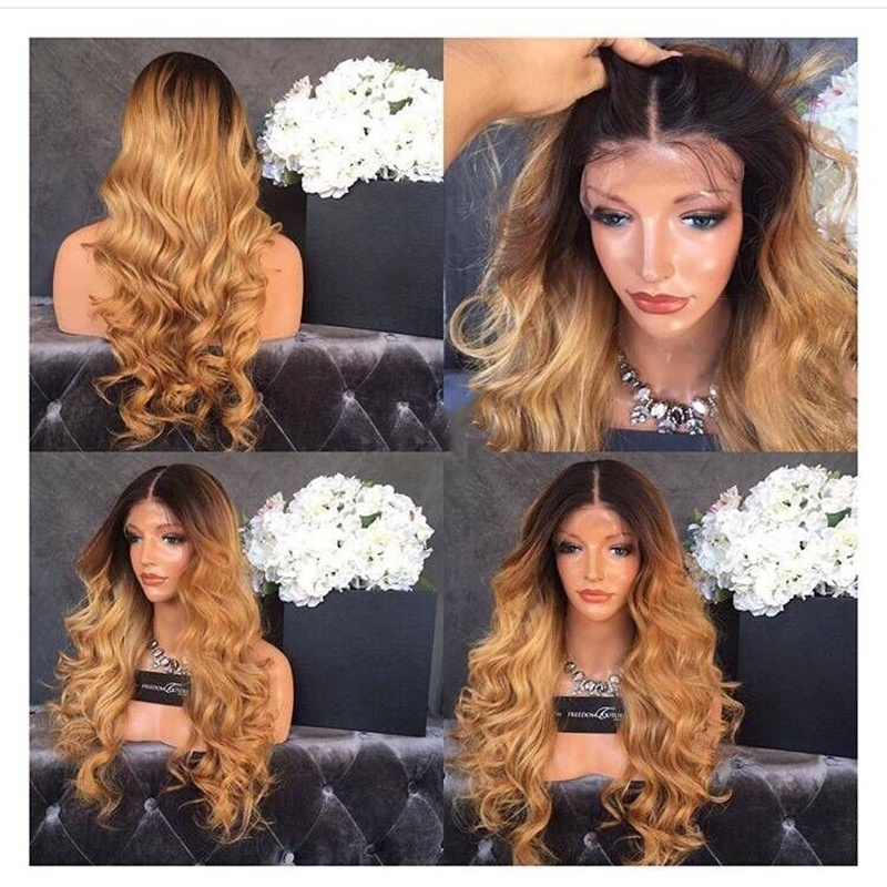Heat Resistant Ombre Blonde Long Curly Wavy Synthetic Lace Front Wig Dark Roots Natural Hairline 180% Density Wigs for Women