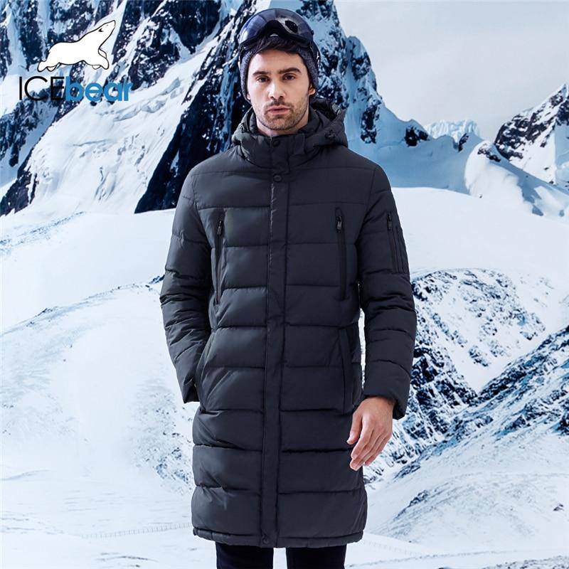 ICEbear 2019 hiver hommes Long manteau exquis bras poche hommes solide Parka chaud manchettes conception respirant tissu veste B17M298D
